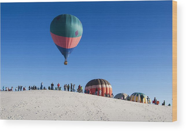 Hot Air Balloon Festival Wood Print featuring the photograph White Sands New Mexico Balloon Festival by Sandra Selle Rodriguez