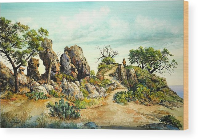 Landscape Wood Print featuring the painting Willow Loop Overlook by Robert W Cook