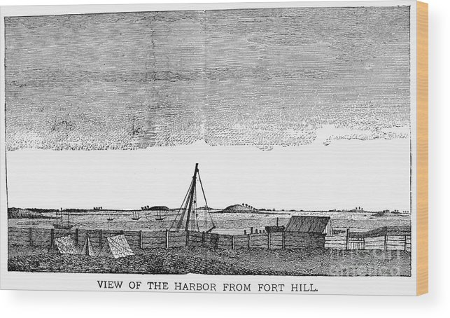 1776 Wood Print featuring the photograph Boston Harbor, 1776 by Granger