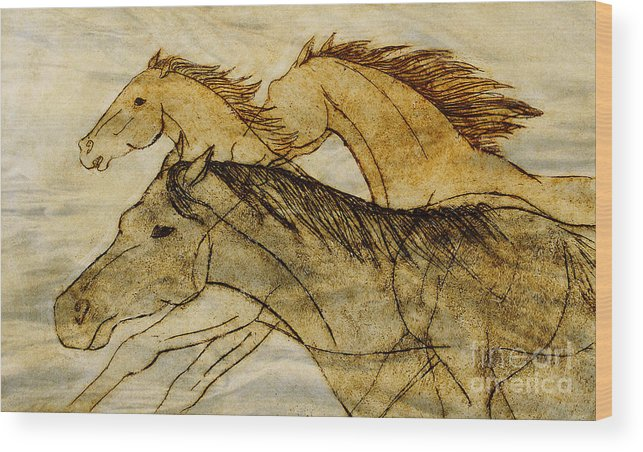 Horses Wood Print featuring the drawing Horse Sketch by Nareeta Martin