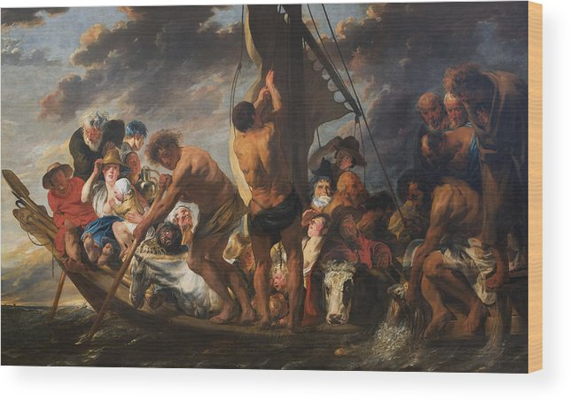 Animal Wood Print featuring the painting The Ferry Boat To Antwerp by Jacob Jordaens