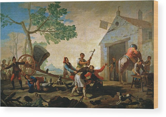 Europe Wood Print featuring the painting The Quarrel In The New Tavern by Francisco Goya
