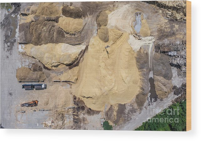 Above Wood Print featuring the photograph Aerial View Over The Sandpit. Industrial Place In Poland. by Mariusz Prusaczyk