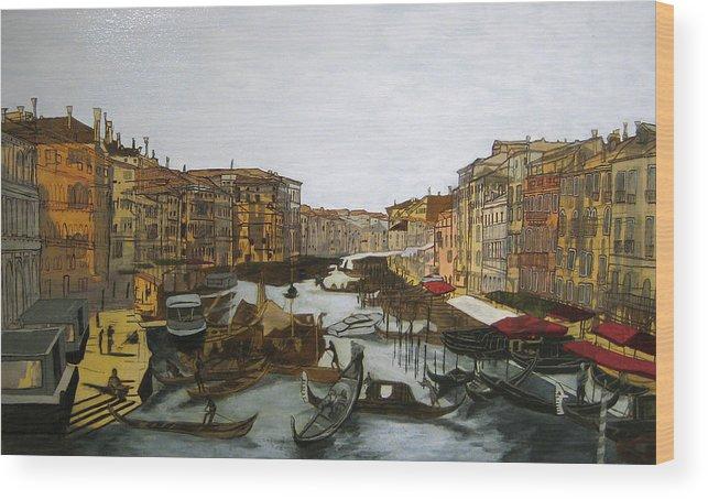 Landscape Wood Print featuring the painting After The Grand Canal by Hyper - Canaletto