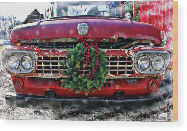 Photography By Suzanne Stout Wood Print featuring the photograph Antique Ford Christmas by Suzanne Stout