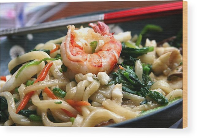 Shrimp Chopsticks Noodles Dinner Asian Wood Print featuring the photograph Asian Delight by Linda Russell