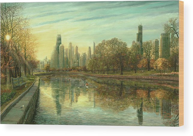 Fall In Chicago Wood Print featuring the painting Autumn Serenity by Doug Kreuger