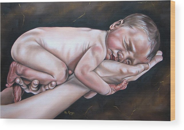 Figure Wood Print featuring the painting Baby by Ilse Kleyn