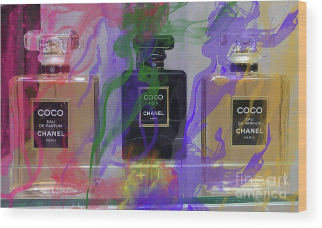 Chanel Coco Wood Print featuring the mixed media Chanel Coco Abstract by To-Tam Gerwe