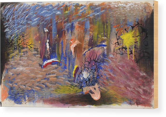 Abstract Wood Print featuring the painting Confrontation by Nathaniel Hoffman
