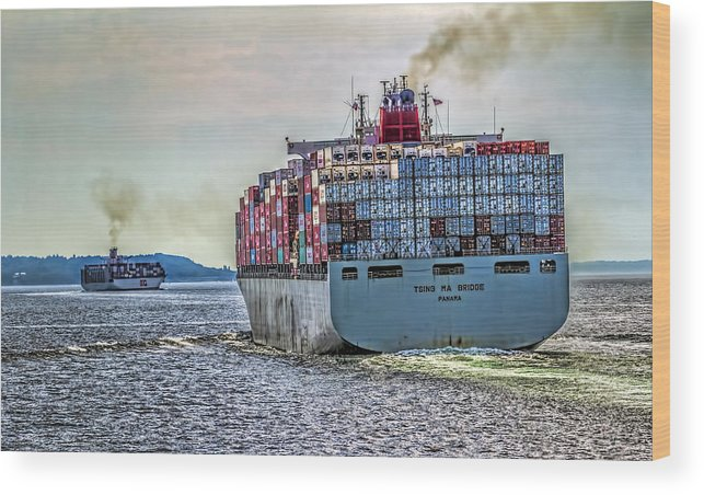 Container Wood Print featuring the photograph Container Ship by Greg Hjellen