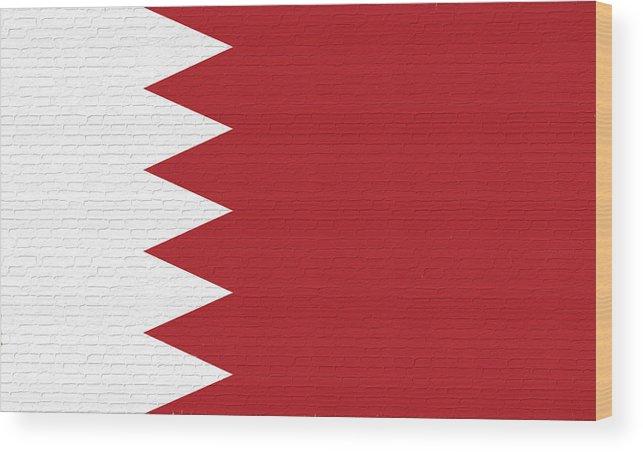 Flag Of Bahrain Wood Print featuring the digital art Flag Of Bahrain Wall. by Roy Pedersen