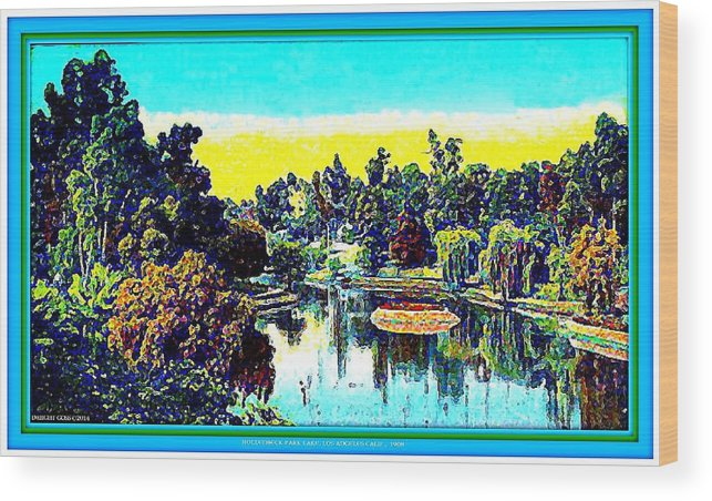 Parks Wood Print featuring the mixed media Hollenbeck Park Lake In Los Angeles, 1910 by Dwight Goss