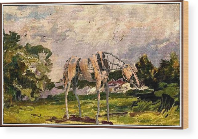 Modern Painting Wood Print featuring the mixed media Horse Statue In The Field by Pemaro
