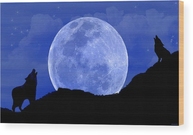 Wolves Wood Print featuring the digital art Howl At The Moon by Evelyn Patrick