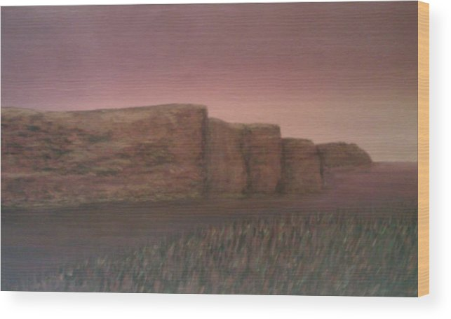 Landscape Cliffs Ireland Wood Print featuring the painting Ireland - Cliffs Of Moher by Sally Van Driest