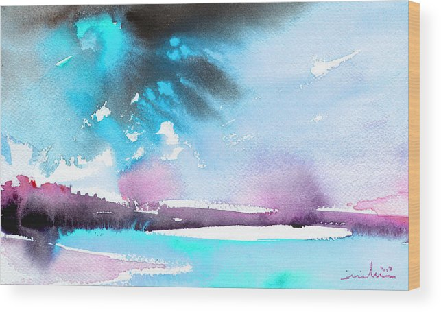 Watercolour Landscape Wood Print featuring the painting Late Afternoon 16 by Miki De Goodaboom
