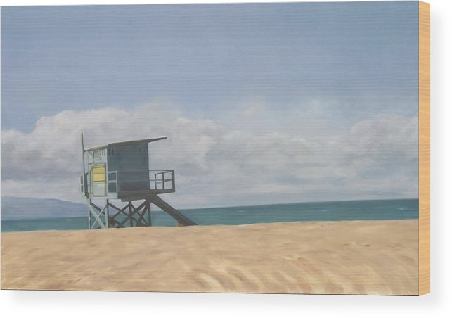 Beach Wood Print featuring the painting Lifeguard Tower by Merle Keller