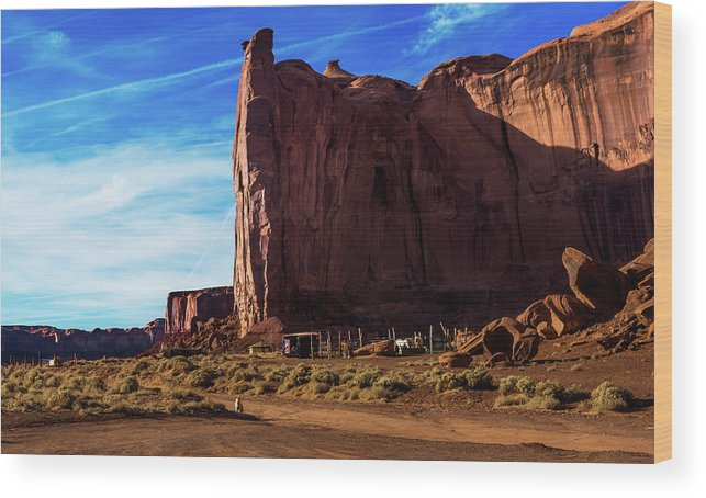 Arizona Wood Print featuring the photograph Monument Valley Corral by Cary Leppert