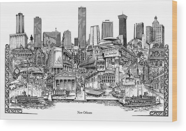 City Drawing Wood Print featuring the drawing New Orleans by Dennis Bivens