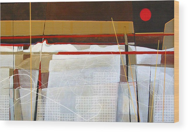 Abstract Wood Print featuring the painting Oyster Farm by Dale Witherow