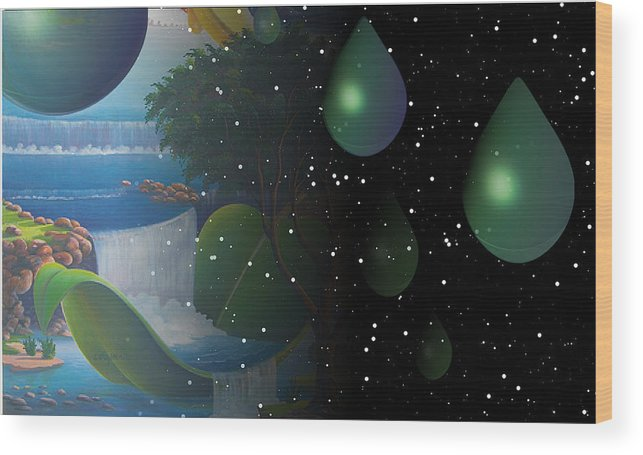 Suarrealism Wood Print featuring the painting Planet Water by Leomariano artist BRASIL