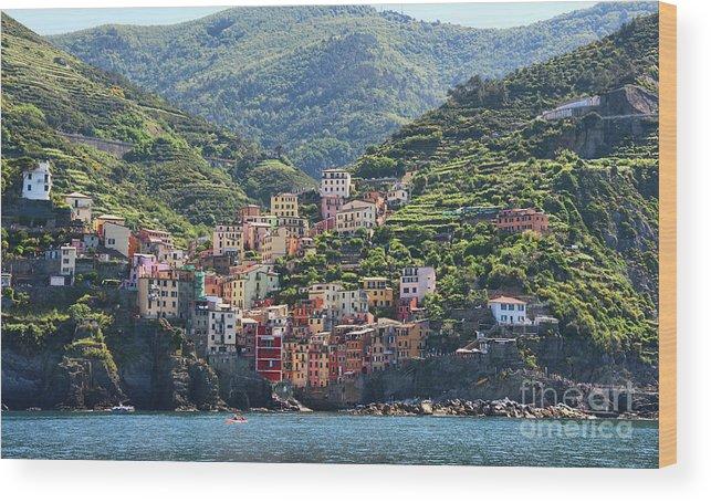 Cinque Terre Wood Print featuring the photograph Riomaggiore 0576 Crop by Jack Schultz