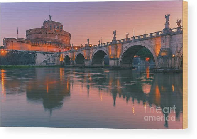 Monument Wood Print featuring the photograph San Angelo Bridge And Castel Sant Angelo by Henk Meijer Photography