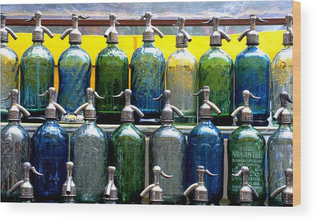 Color Photograph Wood Print featuring the photograph Seltzer Bottles by Dan Albright