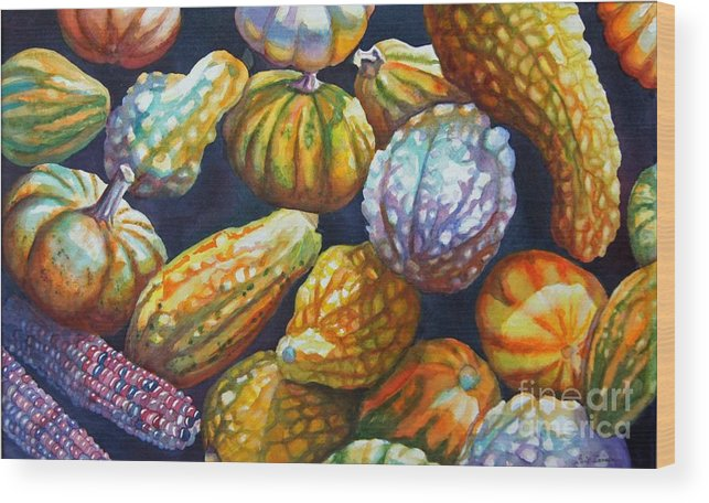 Still Life Wood Print featuring the painting Squash by Gail Zavala