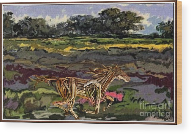 Modern Painting Wood Print featuring the mixed media Summer And Horse Statue by Pemaro