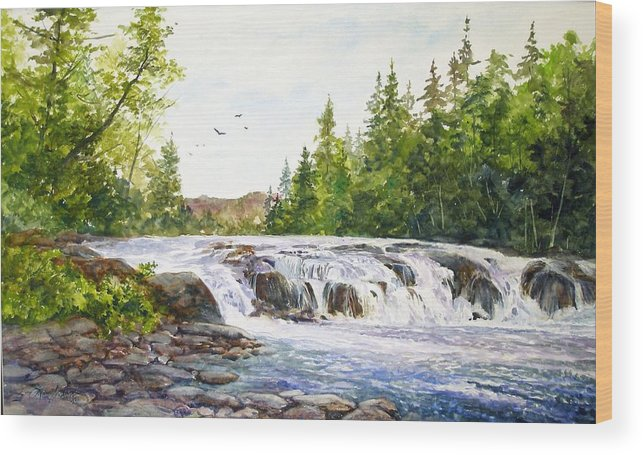 Watercolor;waterfalls;water;river;rocks;adirondacks;summer; Wood Print featuring the painting Summer At Buttermilk Falls by Lois Mountz