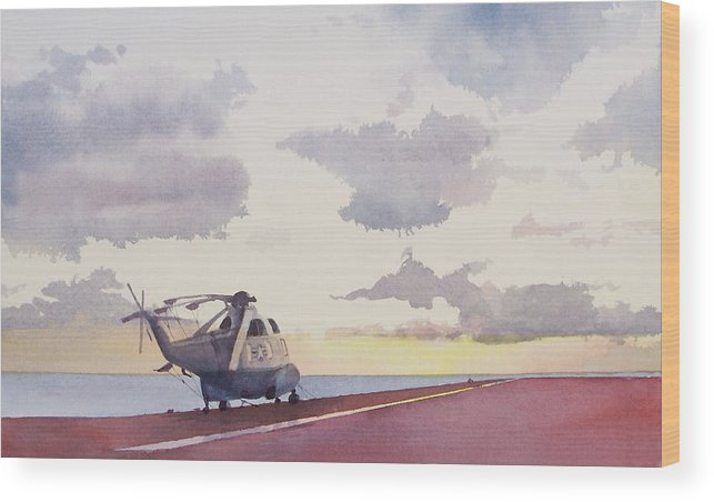 Navy Wood Print featuring the painting Sunrise Uss John F. Kennedy by Philip Fleischer