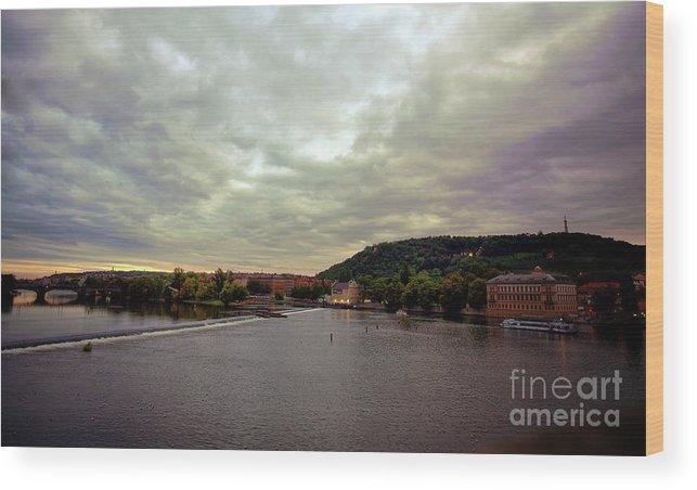Prague Wood Print featuring the photograph Vltava View 1 by Madeline Ellis