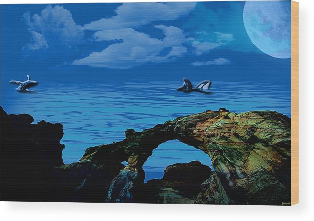Ocean Wood Print featuring the painting Whales Tales by Evelyn Patrick