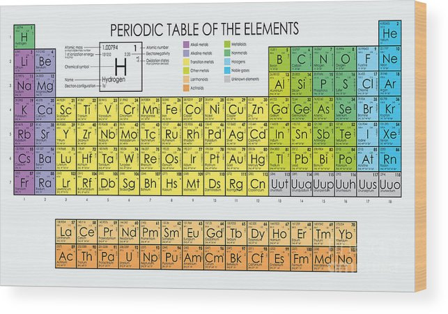 Actinides Wood Print featuring the digital art Vector Periodic Table Of The Elements by Maxger