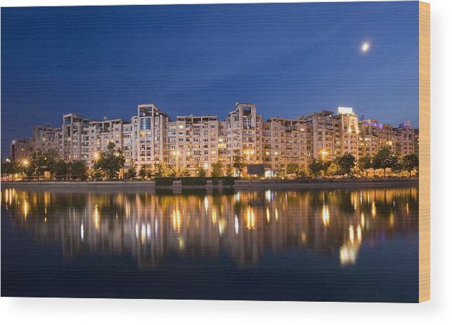Night Wood Print featuring the photograph Bucharest by Ioan Panaite