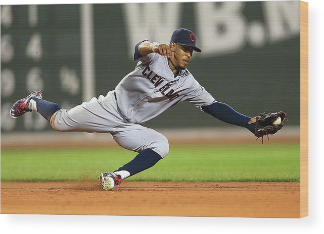 People Wood Print featuring the photograph Cleveland Indians V Boston Red Sox 1 by Jim Rogash
