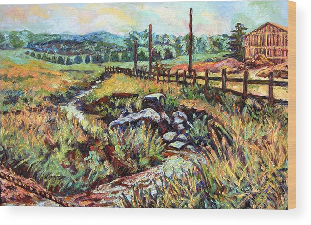 Landscape Paintings Wood Print featuring the painting Stroubles Creek by Kendall Kessler