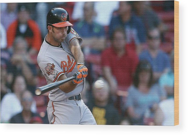American League Baseball Wood Print featuring the photograph Baltimore Orioles V Boston Red Sox by Jim Rogash