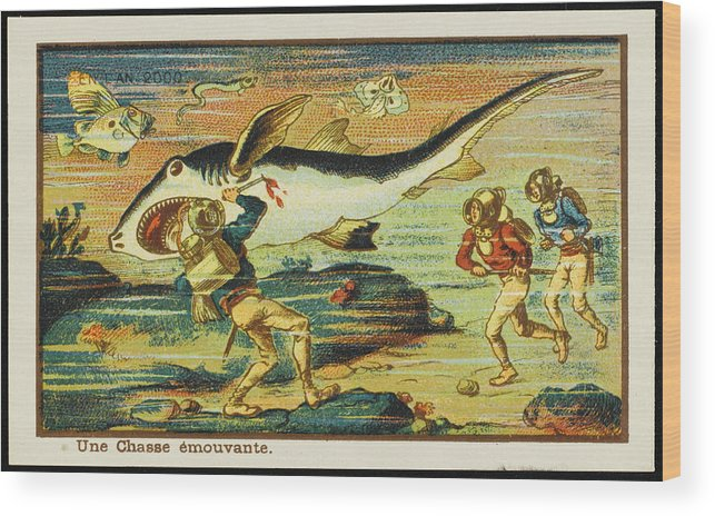 Science Wood Print featuring the drawing A Futuristic Shark Hunt On The Seabed by Mary Evans Picture Library