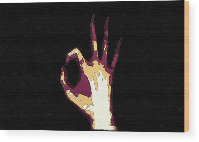 Hand Wood Print featuring the painting All Righty Then by Florian Rodarte