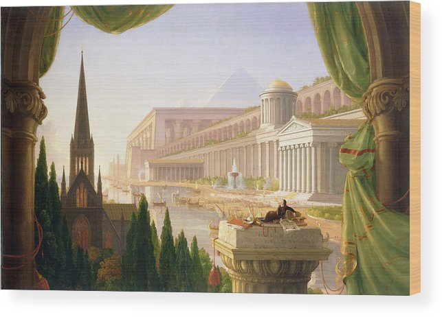 Thomas Cole Wood Print featuring the painting Architects Dream by Thomas Cole
