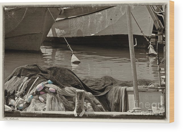 Sea Wood Print featuring the photograph At The Harbor by Arik Baltinester