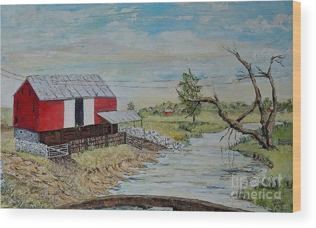 Barn Wood Print featuring the painting Barn Beside Cooks Creek 2 - Sold by Judith Espinoza