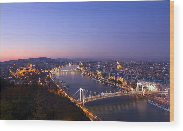 Aerial Wood Print featuring the photograph Budapest At Night by Ioan Panaite