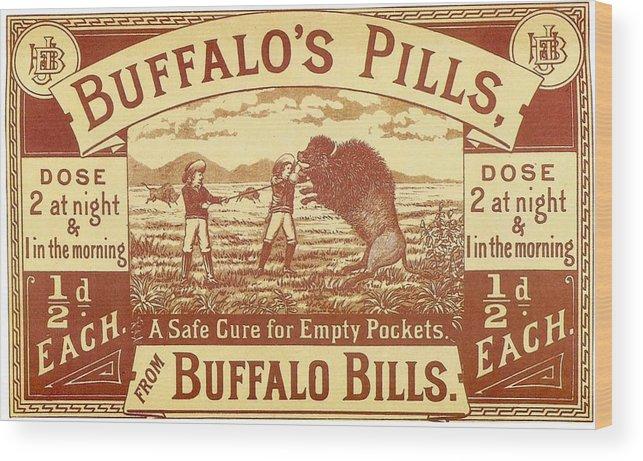 Buffalo's Pills Vintage Ad Wood Print