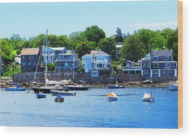 Tags Wood Print featuring the photograph Calm Summer Day At Rockport Harbor by Bob Sandler