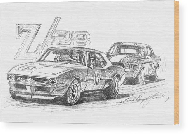 Camaro Wood Print featuring the drawing Camaro Z28 Trans Am by David Lloyd Glover