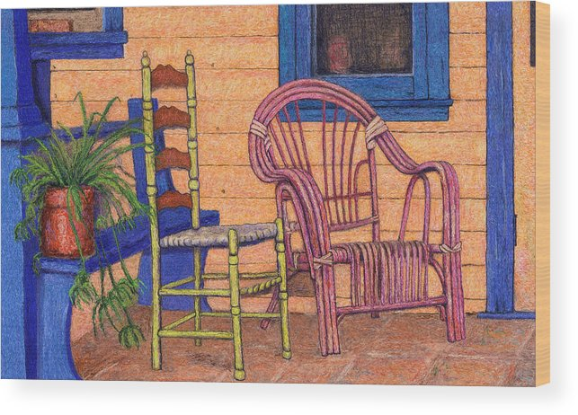 Painting Wood Print featuring the digital art Charlies Porch by Sandra Selle Rodriguez